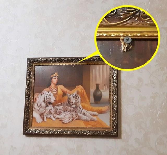 Htjeli smo skinuti ovu groznu sliku sa zida, ali nam je stanodavac rekao da se pobrinuo da ona tu ostane