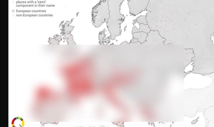 """Mapa pokazuje svako mjesto u Europi koje u imenu sadrži riječ """"sveti"""". Evo kako stoji Hrvatska"""