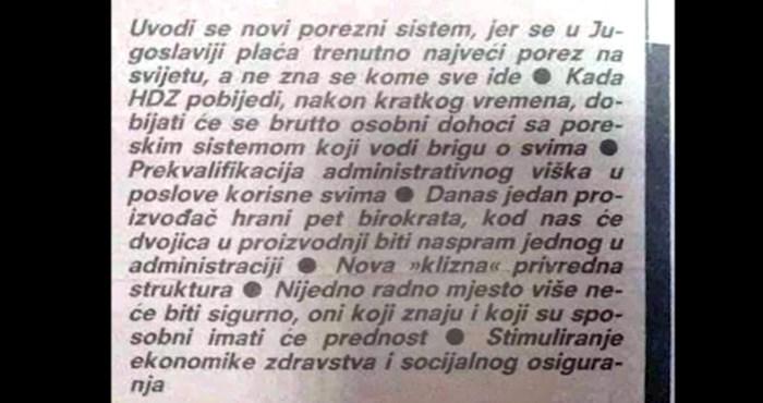 Netko je iskopao HDZ-ova predizborna obećanja nakon raspada Jugoslavije, morate to vidjeti