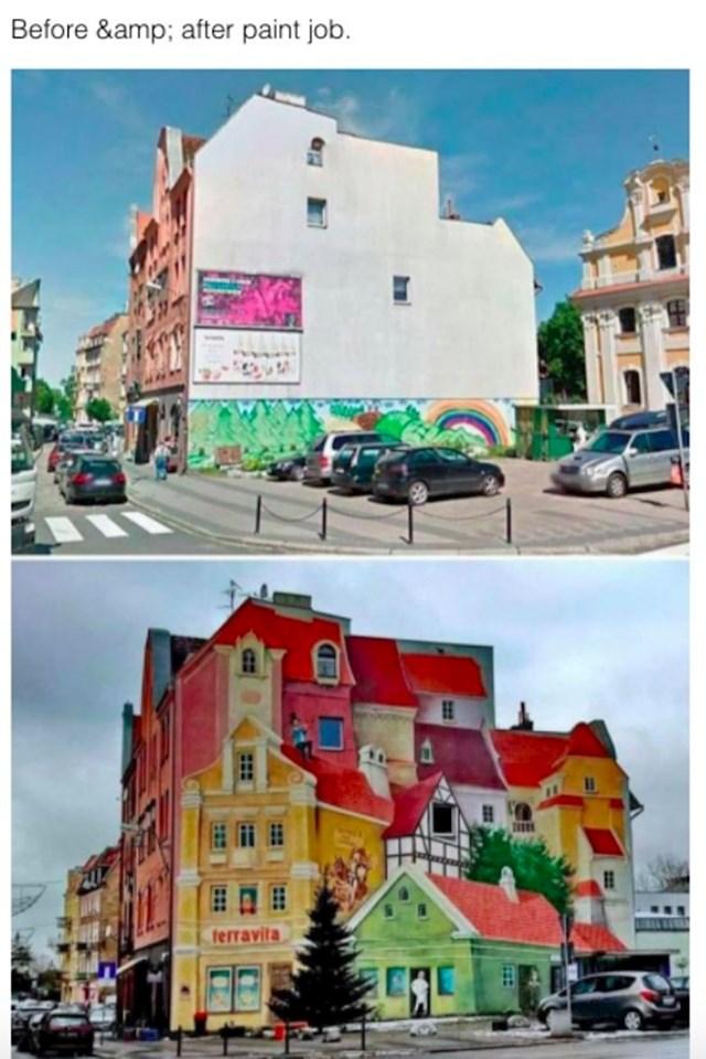 Prije i poslije bojenja fasade, genijalno je