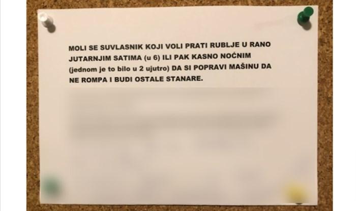 Ostavio poruku susjedima kojima lupa perilica i usput dao lekciju o potrošačima struje