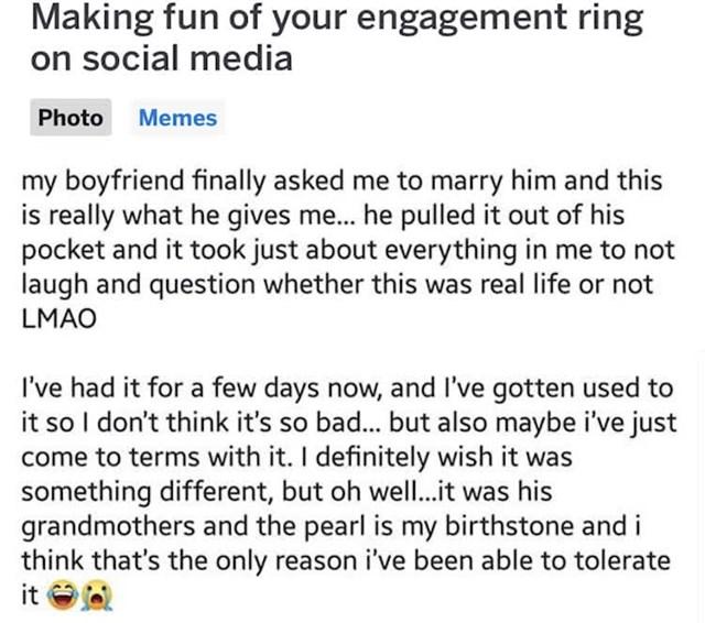 Ipak, nakon nekoliko dana ipak je odlučila prihvatiti činjenicu da je njenom dečku to bitno