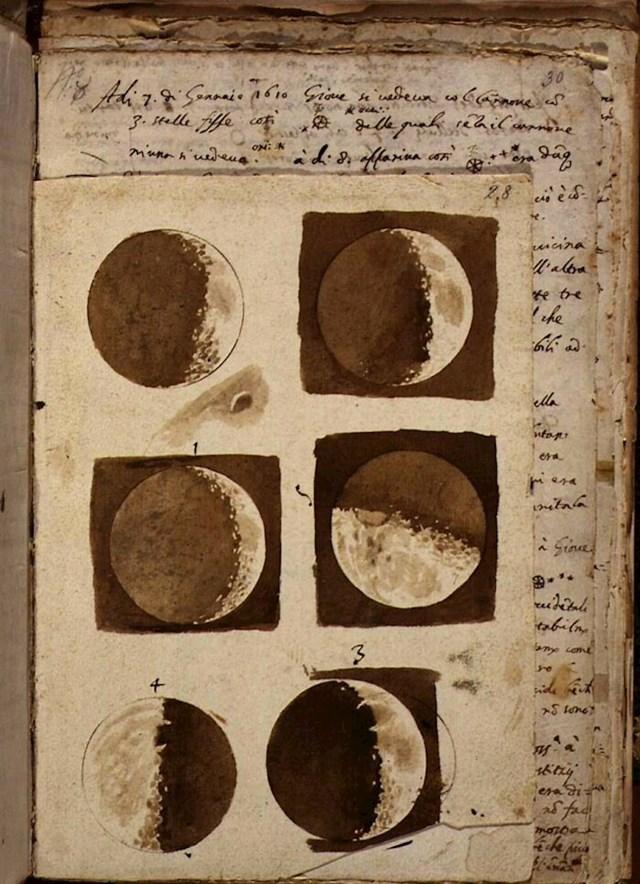 Prvi crtež mjeseca, Galileo Galilei - 1609. godina.