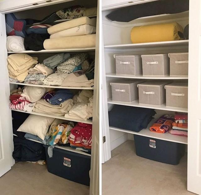 Ormar s posteljinom, uredan i organiziran