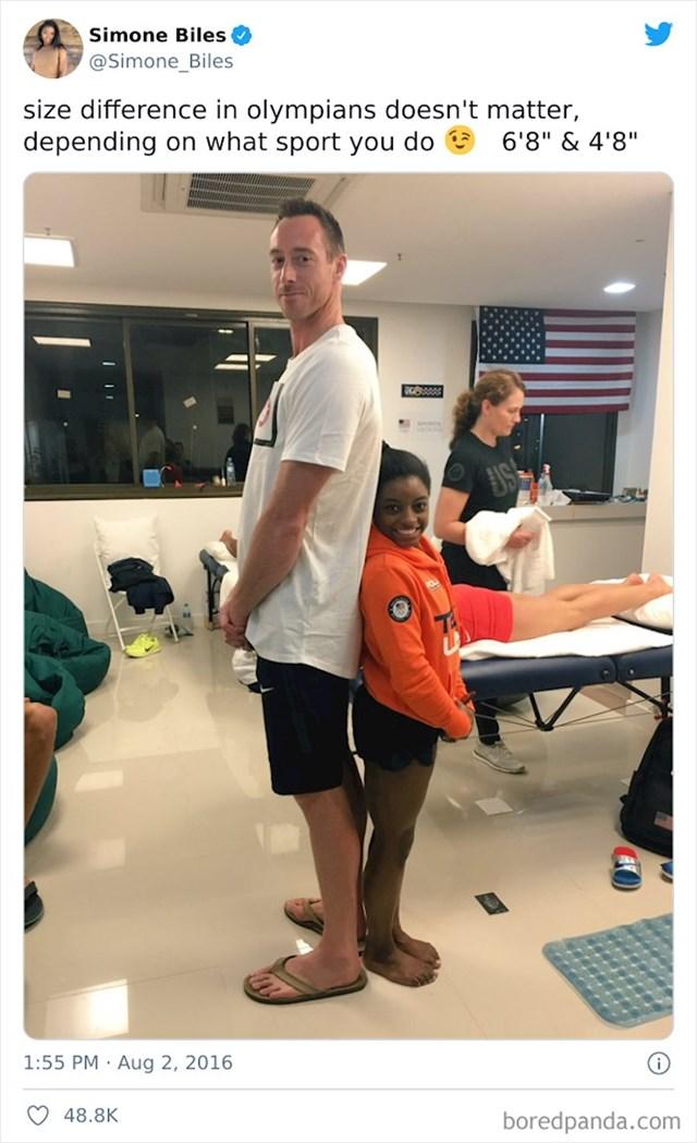 Razlika u visini između olimpijskog odbojkaša i gimnastičarke