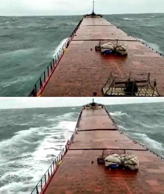 Siječanj 2021., zadnji trenuci ukrajinskog broda prije nego se prepolovio i potonuo