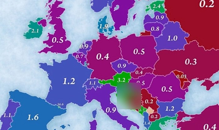 Ova mapa prikazuje broj turista po glavi stanovnika. Samo je jedna zemlja bolja od Hrvatske