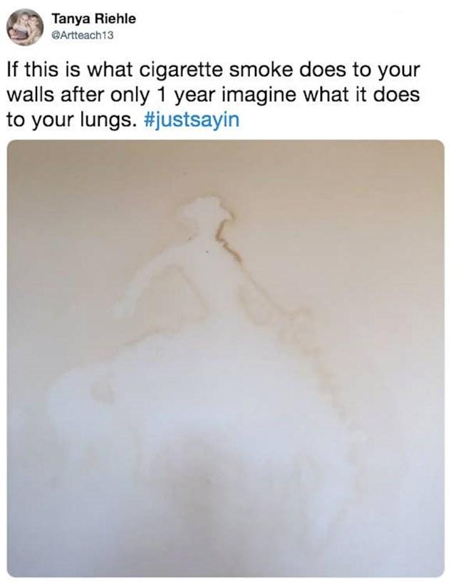 Zid nakon samo jedne godine pušenja u stanu