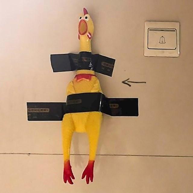 Zvono mu nije radilo pa je kod ulaznih vrata zalijepio gumenu kokoš.