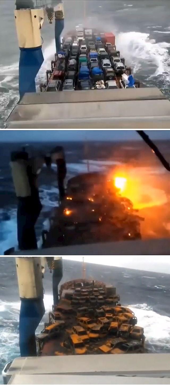 Morska voda uzrokovala je kratki spoj na baterijama automobila i zapalila čitav teret