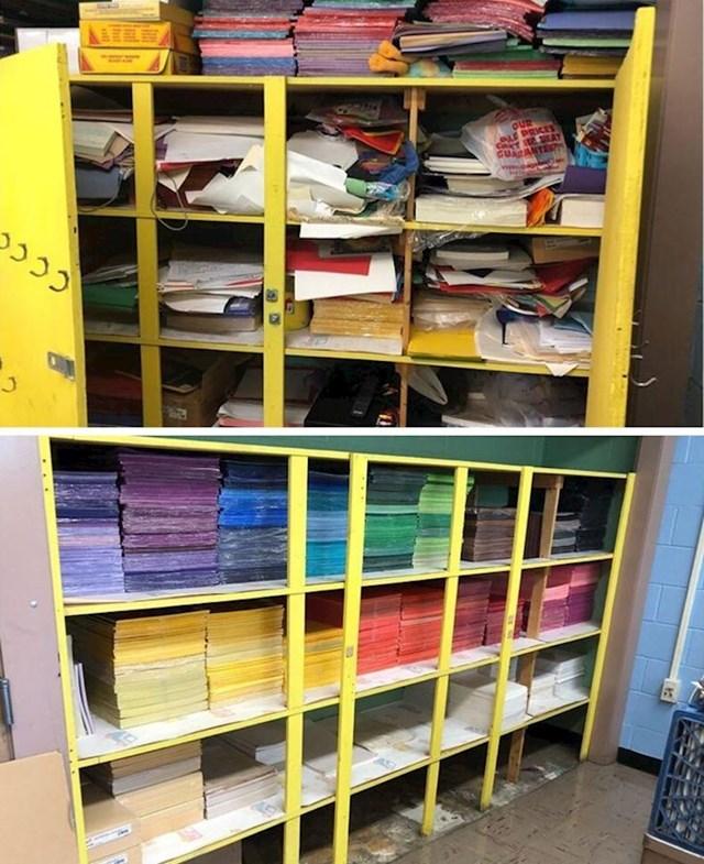 """Ja sam učiteljica likovne kulture i prošlog ljeta sam počela predavati u novoj školi. Prethodna učiteljica nije dijelila moju ljubav prema organizaciji. Evo fotke prije i poslije mog ormara za papir! """""""