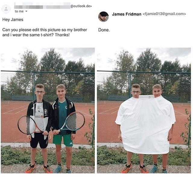 Možeš li urediti fotku da brati i ja nosimo istu majicu?