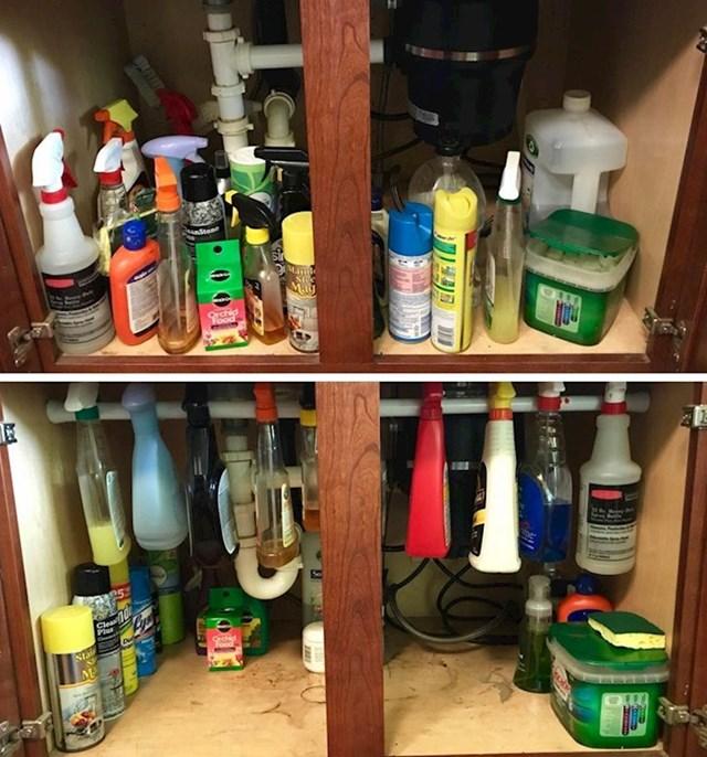 Šipka za zavjesu vam također može poslužiti kao korisna stvar u organiziranju prostora ispod sudopera