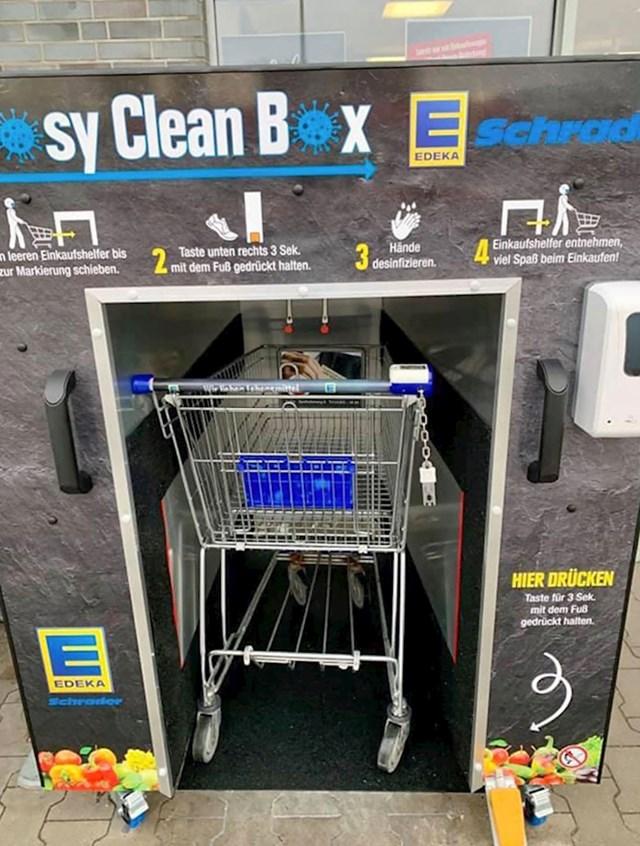 Dućan u Njemačkoj ima prostor za dezinficiranje kolica za kupovinu