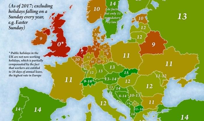 Zanimljiva mapa prikazuje broj neradnih dana u raznim europskim državama. U V. Britaniji ih nema