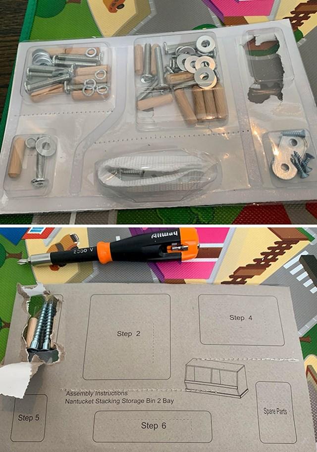 Materijal potreban za sastavljanje namještaja složen po koracima ne po vrsti materijala