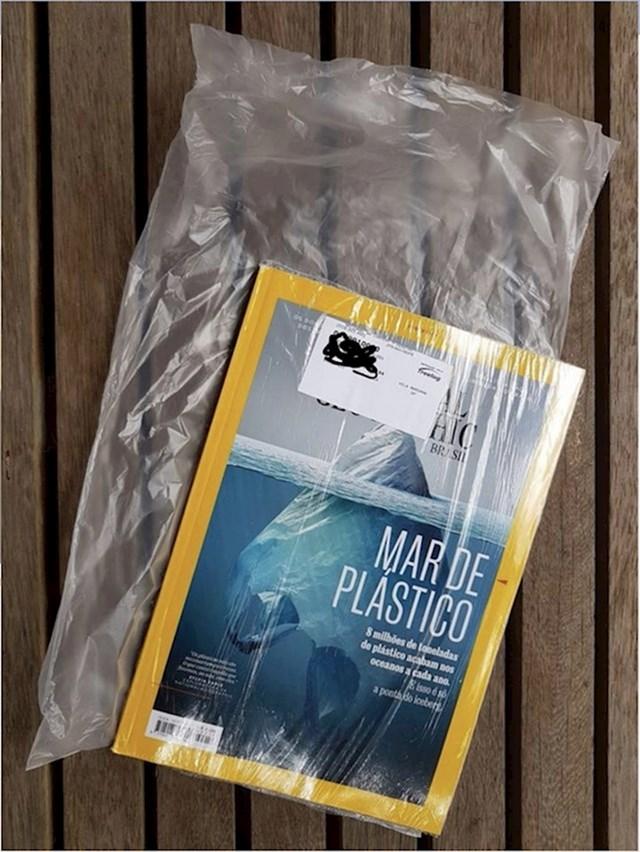 Vrhunac ironije: Časopis koji piše o štetnosti plastike umotan je u plastiku.