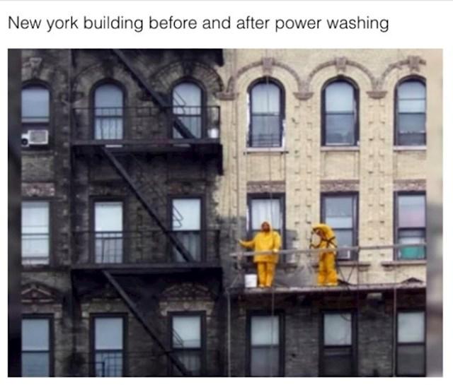 Fasada ove zgrade u New Yorku, prije i poslije čišćenja