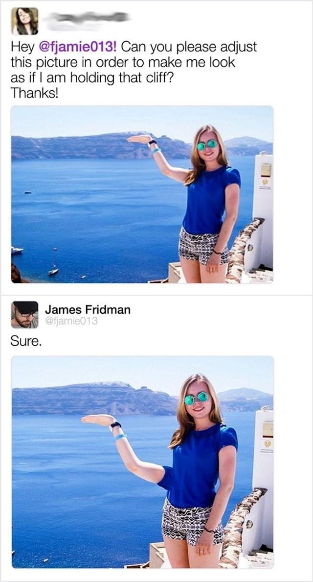 Možeš li, molim te, urediti ovu fotku da izgleda kao da držim otok?
