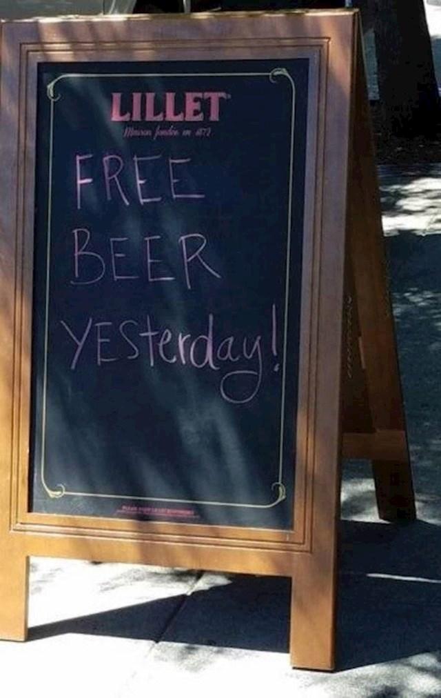 Besplatno pivo... jučer!