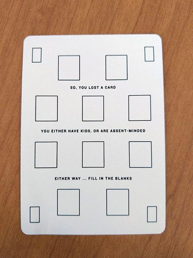 Rezervna karta. Uvijek se bar jedna karta u špilu izgubi pa su ponudili jednu rezervnu na koju napišete koju kartu mijenja
