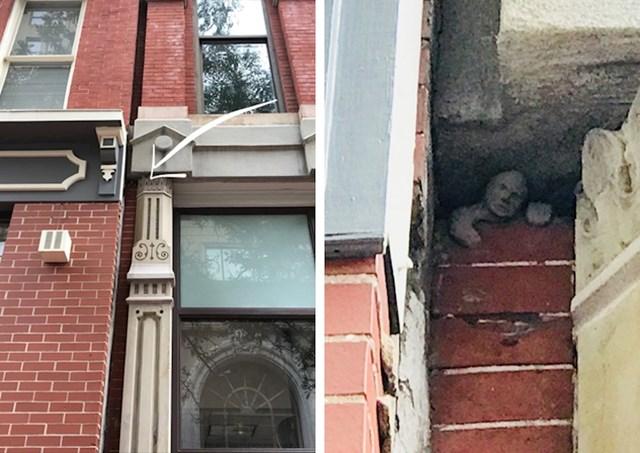 U Charles Townu, Zapadna Virdžinija, postoji skriveni kip čovjeka u zidu