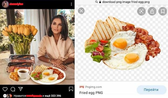 Skinula je sliku doručka s interneta i glumila da je to njena hrana :D