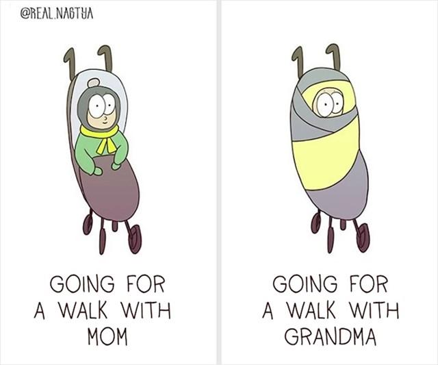 Kada beba ide u šetnju s mamom i kako to izgleda kada ide u šetnju s bakom: