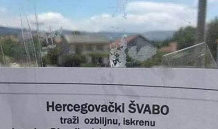 Oglas jednog Hercegovca koji traži curu oduševio prolaznike