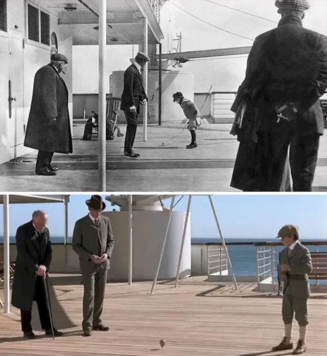 Scena s dječakom koji se igra nastala je prema stvarnoj fotografiji s Titanica