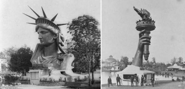 Kip slobode na Svjetskom sajmu u Parizu 1878. godine, prije nego što je u potpunosti sastavljen i otpremljen u Sjedinjene Države