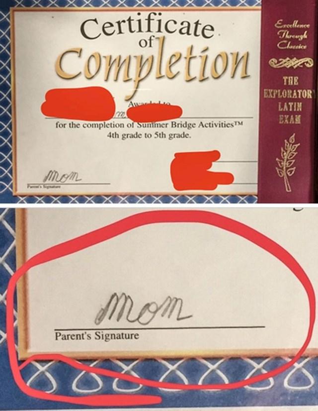 Potpis roditelja: mama