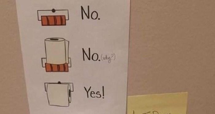 Žena je ostavila mužu upute kako odložiti rolu wc papira, ovo što je on učinio definitivno nije očekivala