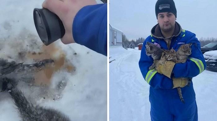 Ovaj čovjek upotrijebio je toplu kavu kako bi spasio 3 zaleđena mačića