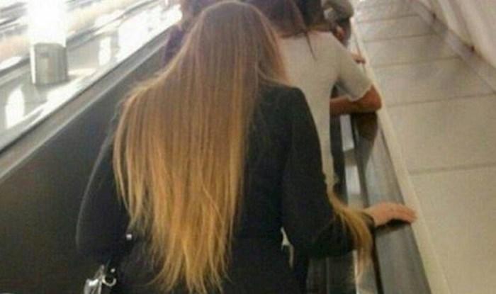 Na pokretnim stepenicama fotkali su ovu djevojku koja se to jutro očito jako žurila iz kuće