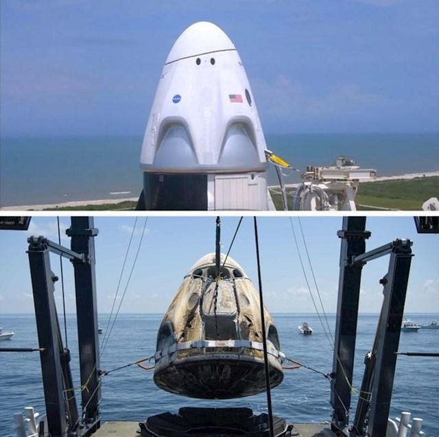 SpaceX Crew Dragon svemirska kapsula prije i nakon leta