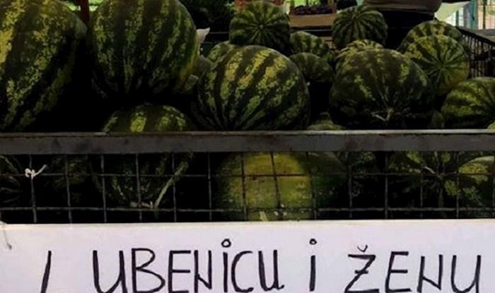 Morate vidjeti ovaj natpis o kupnji lubenice na jednoj tržnici