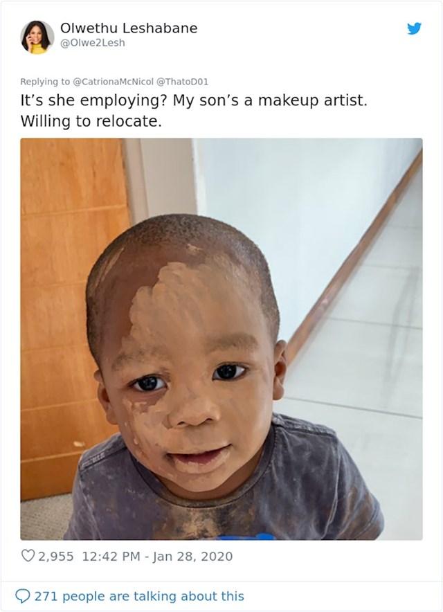 """Zapošljava li? Moj sin se bavi šminkanjem. Voljan je preseliti se"""