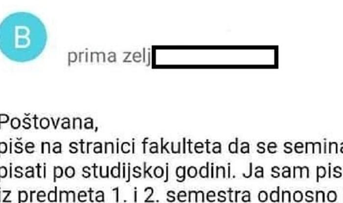 Studenta je zgrozio mail koji mu je poslala teta iz referade, kako je ovo moguće?