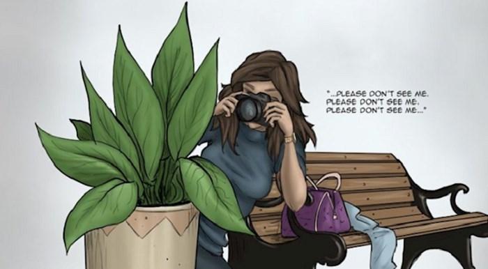 Crteži ovog umjetnika su nesvakidašnji, prikazuju tipične stereotipe o muškim i ženskim fotografima