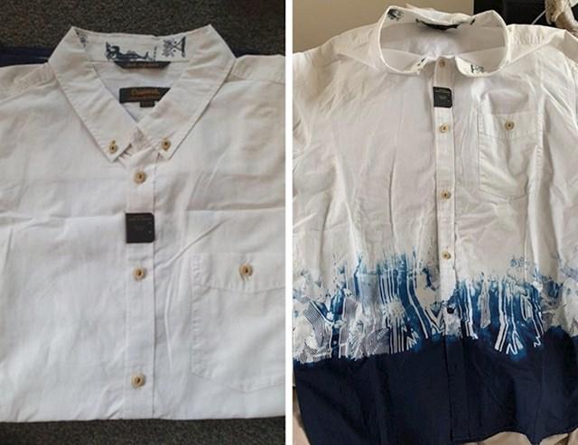 Kako je barem mislio naručio je bijelu košulju, ali kada ju je raspakirao otkrio je ovu plavu strahotu na dnu...