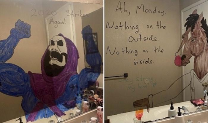 Žena je podijelila crteže koje je njen muž nacrtao na ogledalu u kupaonici