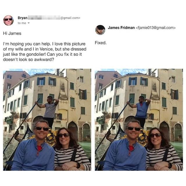 Nadam se da nam možeš pomoći. Sviđa mi se ova fotka mene i žene u Veneciji, ali možeš li napraviti njenu majicu drugačijom, jer je jednaka kao majica vozača gondole...