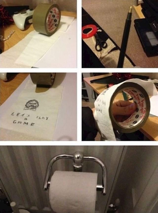 na samoljepljivu traku zalijepio je komad wc papira, ovo je zbilja podlo