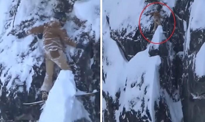 Snowboarder je zapeo na stijeni i držao se dok nije stigla pomoć, ovo jezivo izgleda