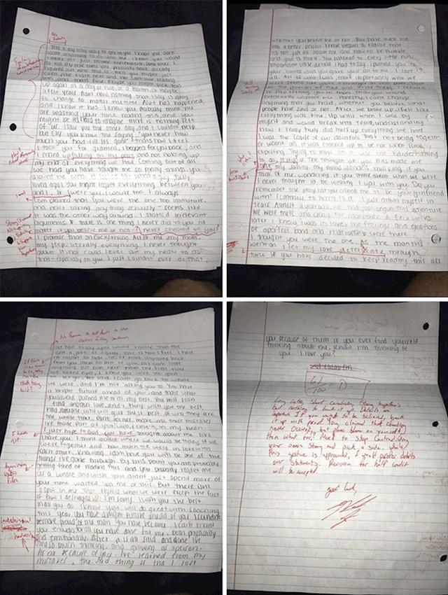 Bivši joj je poslao pismo isprike, ona je naznačila pravopisne pogreške i vratila mu ga
