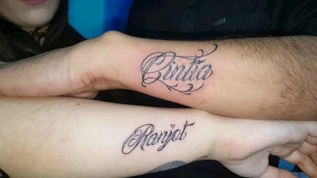 Kada parovi tetoviraju ime jedno drugog