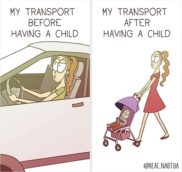 Moj prijevoz prije djeteta i sada: