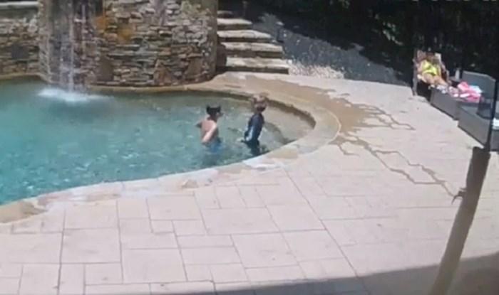 Obitelj je uživala na bazenu, kamera je zabilježila trenutak koji je mogao završiti tragično