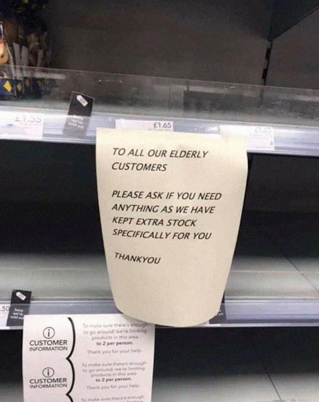"""""""Obavijest našim starijim kupcima! Ako nešto trebate kupiti, a toga nema na policama, obratite nam se, imamo zalihe za vas"""""""